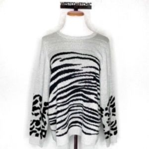 Lucky Brand Gray Animal Print Sweater Size XL
